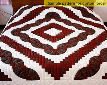 Log cabin & Grandma's fan quilt, Hand Quilted, Amish quilts, Hand quilted quilts, King / queen size quilts, Amish patchwork, burgundy velvet