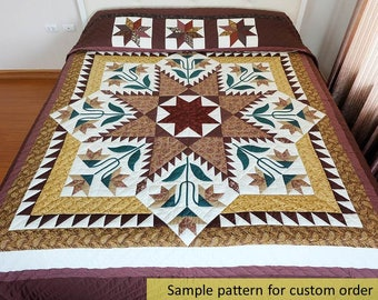 Patchwork quilts, Feather Star Quilt, King Size Quilts, Amish Quilts, Gold brown Quilt, Appliqued Quilt, Bedspread, queen size, Custom quilt