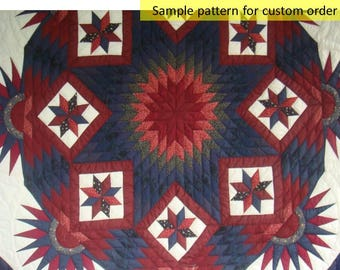 Free shipping, Amish blanket, Amish Quilts, Hand Made Quilt, On Sale, Quilted Bedspread, Patchwork, Star&Compass Quilt, King Size, red, navy
