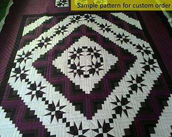 Hand stitched Log Cabin quilt with star, Quilted Bedspread, Country Quilt, King /Queen Size, Amish Quilts, Patchwork quilts, Amish patchwork