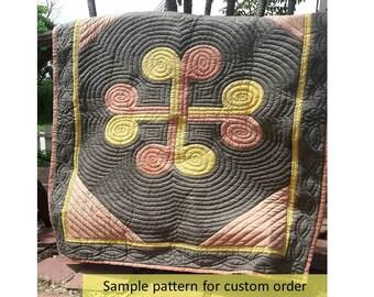 Hawaiian appliqued quilts, Hawaiian quilts, Hawaiian bedding, Hawaiian décor, custom order, personalized order, handmade quilted, earthtone