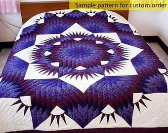 Hand Stitched quilts, Purple star quilts, Unique Gift, Traditional Amish, Broken Star, Queen / King size, Homemade quilts, Amish Pattern