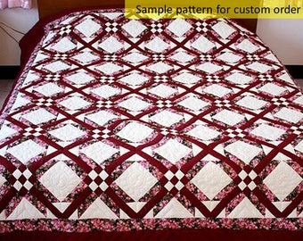 Dices & Diamonds quilts, Amish quilt, Cotton quilts, Hand made quilts, King /Queen bedspread, Quilted Comforter, Hand Quilted, Amish Made