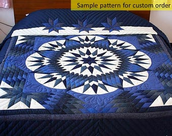Mariner's Star King Quilt, Free shipping, Amish Quilts, Amish patchwork, Hand Made Quilt, On Sale, Quilted Bedspread, Star Quilt, Queen Size
