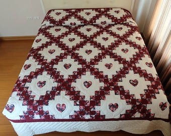 Handstitched Quilt, Hand stitched, Double Irish chain, Amish quilts, King/Cal king size quilts, Wine/Mahogany Handmade quilt, Homemade Quilt