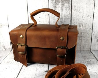 Small Leather suitcase. Dark brown hand bag. Crossbody vintage style bag. Vanity case. Tools case. Cards case.
