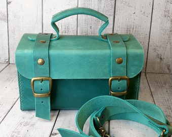 Small Leather suitcase. Turquoise hand bag. Crossbody vintage style bag. Vanity case. Tools case. Cards case.