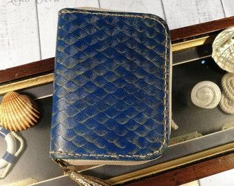 "leather zipper wallet. Zipper around wallet. blue leather wallet. wallets for woman. ""Mermaid"" wallet"