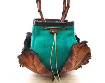 Hand bag. leather hand bag. Leather purse. turquoise purse. One of a kind