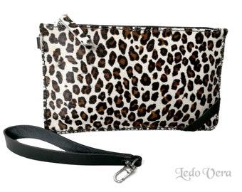 Leopard print purse. Hair on leather hand bag. Animal print small hand bag