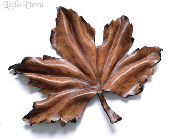 Leather leaf. Maple leaf. Jewelry and key tray. Leather organizer. Home decor.