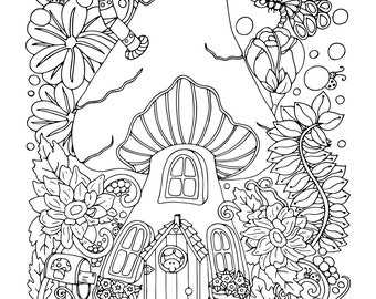 mushie cottage 1 adult coloring book page instant download
