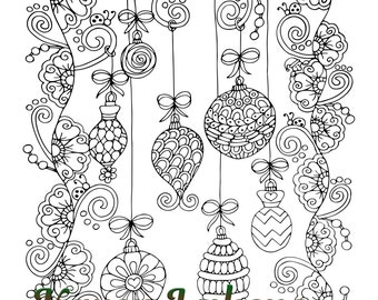 Christmas Vintage Ornaments 1 Adult Coloring Book Page Etsy