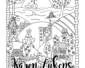 Its A Fine Day 1 Adult Coloring Book Page Printable Instant Download Farm Animals
