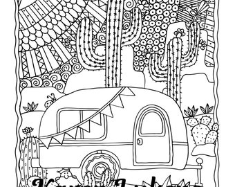 Desert Coloring Page Etsy