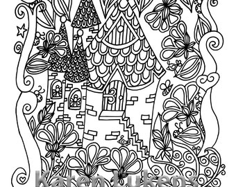 Fairy House 3 1 Adult Coloring Book Page Printable Instant ...