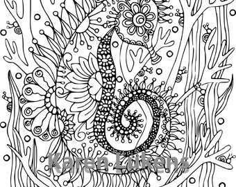 Happy Seahorse, 1 Adult Coloring Book Page, Printable Instant Download