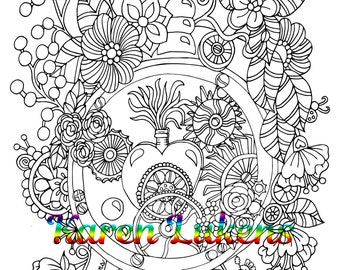 Steampunk Time, 1 Adult Coloring Book Page, Printable Instant Download, Karen Lukens