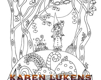 Halloween, Happy Witch, 1 Adult Coloring Book Pages, Printable Instant Download, Halloween, Karen Lukens