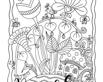 One Sweet Day, 1 Adult Coloring Book Page, Printable Instant Download, Tiny Mushroom House, Flowers