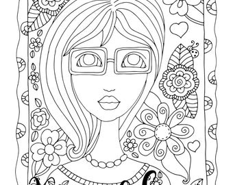 Sheryl, 1 Adult Coloring Book Page, Printable Instant Download