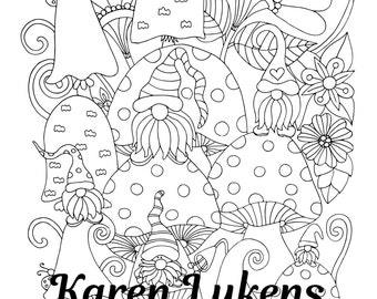 The Gnome Brothers , 1 Adult Coloring Book Page, Printable Instant Download