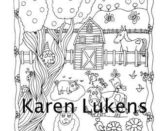 Barnyard Fun, 1 Adult Coloring Book Page, Printable Instant Download