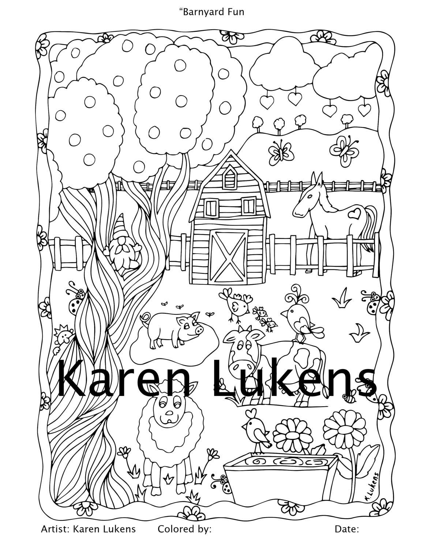 Barnyard Fun 1 Adult Coloring Book Page Printable Instant Download
