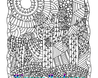 Cactus Blooms, 1 Adult Coloring Book Page, Printable Instant Download