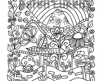 Happyville 1 Mile Ahead, 1 Adult Coloring Book Page, Printable Instant Download