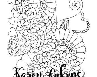 """Valentine's - """"Lovely"""", 1 Adult Coloring Book Page, Instant Download, Valentine's"""