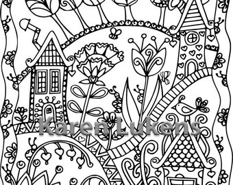 Happyville #2, 1 Adult Coloring Book Page, Printable Instant Download