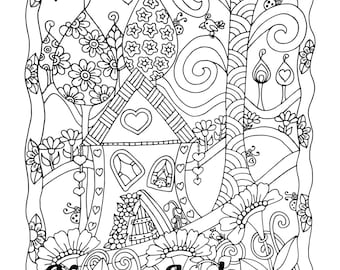 Happy Gnome Cottage, 1 Adult Coloring Book Page, Printable Instant Download