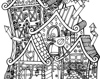 Happyville Townhouses, 1 Adult Coloring Book Page, Printable Instant Download