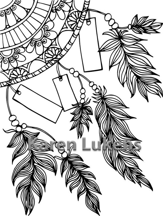 Write Your Dreams Dream Catcher 1 Adult Coloring Book Page Etsy