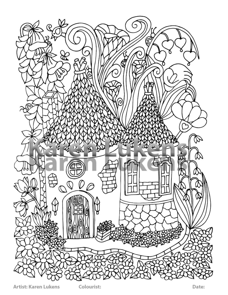 Fairy house 5 1 adult coloring book page printable instant etsy