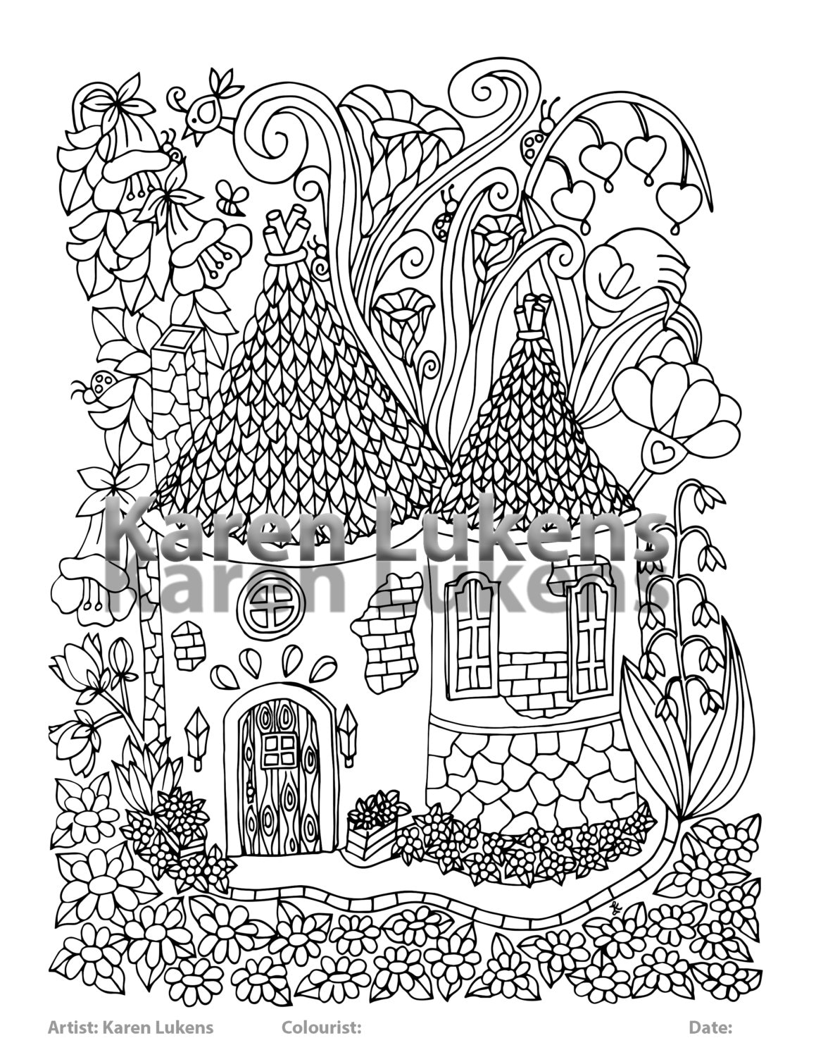 Fairy House #5, 1 Adult Coloring Book Page, Printable Instant Download