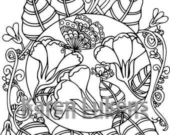 Butterfly Garden #5, 1 Adult Coloring Book Page, Printable Instant Download