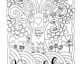 """Valentine's - """"Love Grows Here"""", 1 Adult Coloring Book Page, Instant Download"""