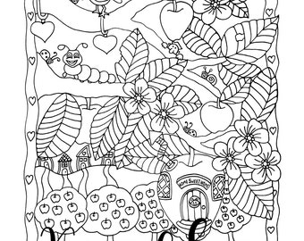 Apple Tree Acres #2, 1 Adult Coloring Book Page, Printable Instant Download