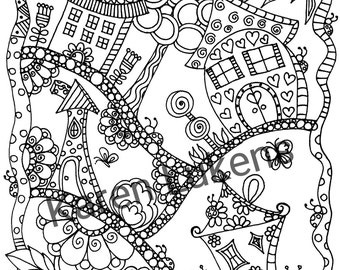 Happyville #1, 1 Adult Coloring Book Page, Printable Instant Download