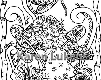 Dragonfly Mushies, 1 Adult Coloring Book Page, Printable Instant Download