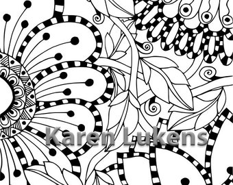 5 pages, Flowers Coloring Pack #2 , 5 Adult Coloring Book Pages, Printable Instant Download