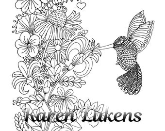 Hummingbird Delight, 1 Adult Coloring Book Page, Printable Instant Download
