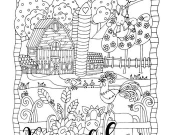 Happyville Farm Life, 1 Adult Coloring Book Page, Printable Instant Download, Farm Animals