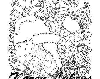 My Heart Hurts, 1 Adult Coloring Book Page, Printable Instant Download
