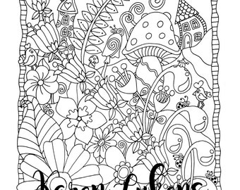 """Happyville """"Voted Best Place To Live"""", 1 Adult Coloring Book Page, Printable Instant Download"""