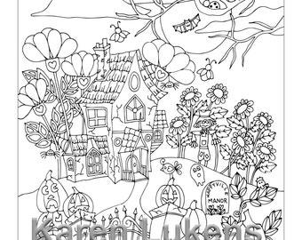 Happyville Manor Halloween, 1 Adult Coloring Book Pages, Printable Instant Download, digital stamps, Karen Lukens