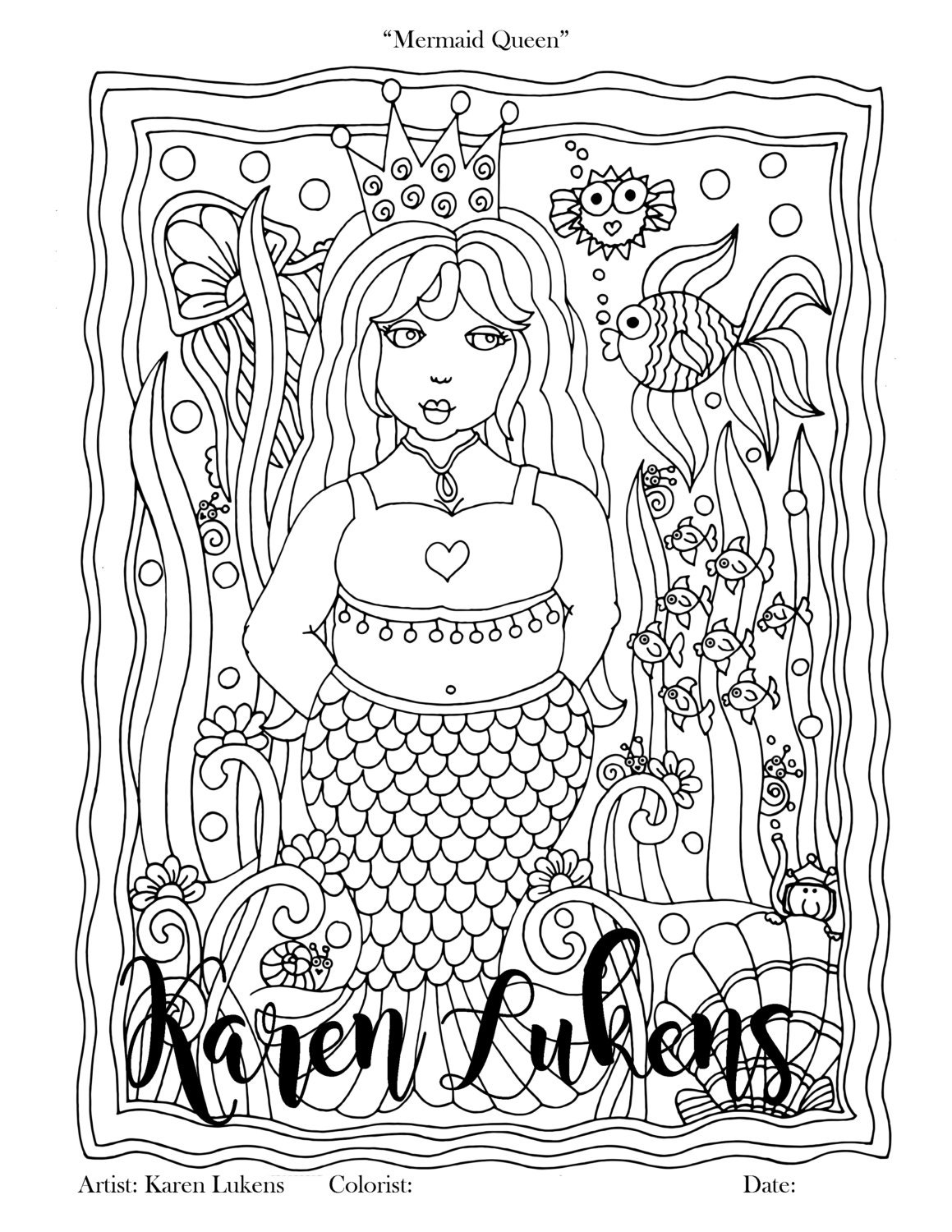 Mermaid Queen 1 Adult Coloring Book Page Printable Instant ...