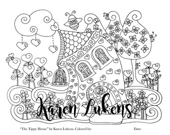 The Tippy House, 1 Adult Coloring Book Page, Printable Instant Download.